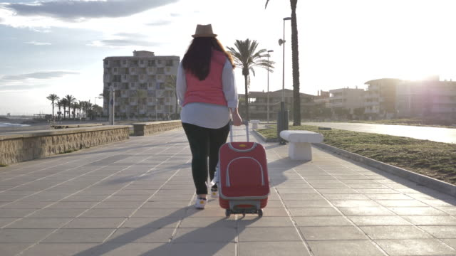 travel woman goes with a suitcase along the promenade video