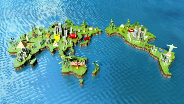 travel world tour concept animation - canada travel stock videos and b-roll footage