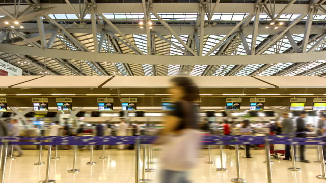 Traveler at Airport Check In Counter ,Time lapse video