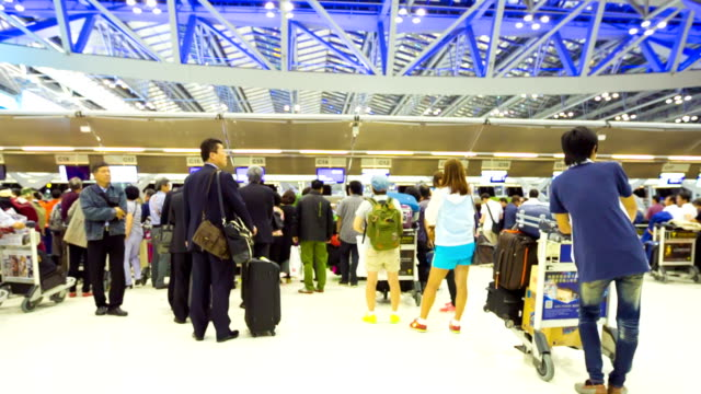 Traveler Crowd at Airport Check In Counter Hall video