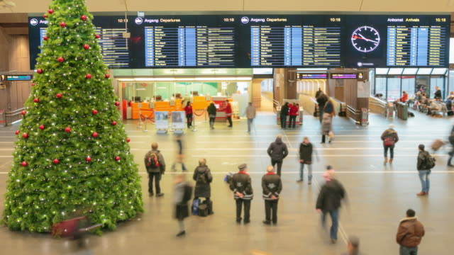 Traveler Crowd at Central Train Station during Holiday in Oslo video