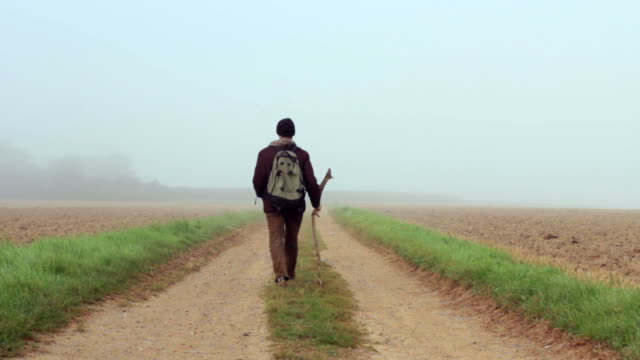 Traveler walks away into the mist. video