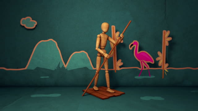 travelers mannequin animation - stop motion style - motion graphics - happy holidays filmów i materiałów b-roll