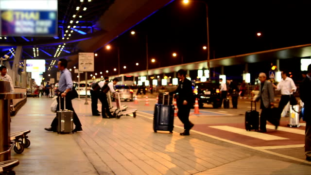 Traveling at night Airport. video
