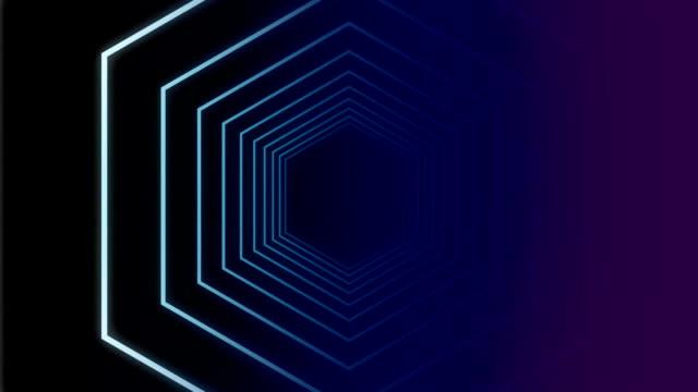 traveling in a hexagon tunnel - esagono video stock e b–roll