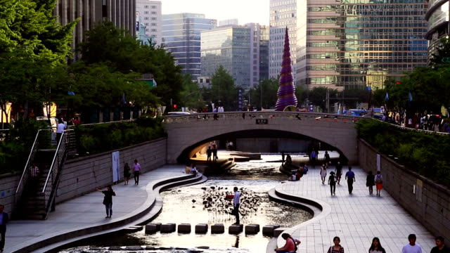 Traveling In Seoul City Crowded People At Cheonggyecheon Stream In Seoul City Of South Korea, Timelapse. seoul stock videos & royalty-free footage