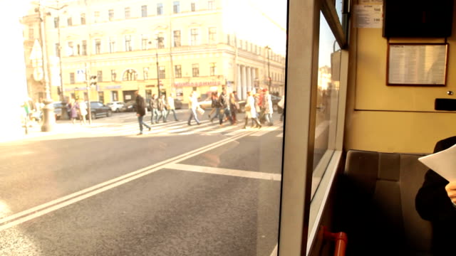 Traveling on public transport in the city video