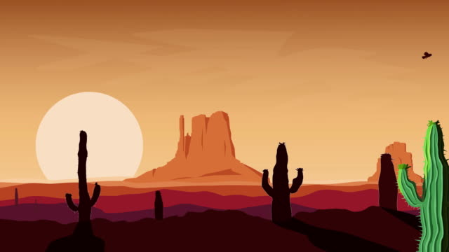 Traveling on western desert. 4K. GIF animation.