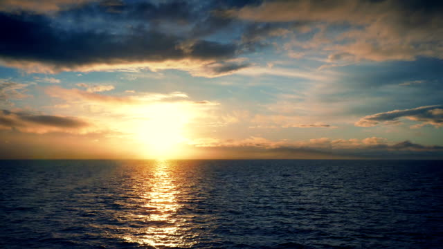 Traveling Over The Sea At Sunset video