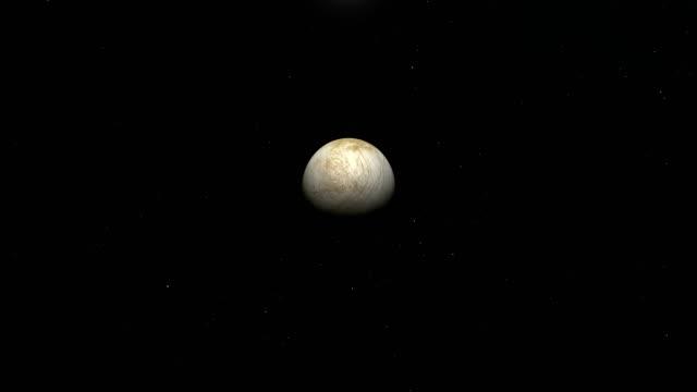 traveling towards europa, jupiter's moon, in the outer space - io księżyc filmów i materiałów b-roll