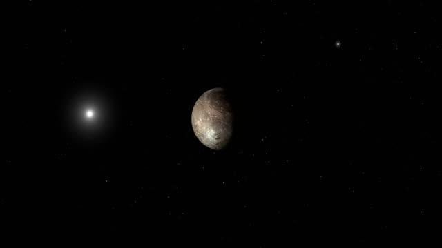 traveling towards ganymede, jupiter's moon, in the outer space - io księżyc filmów i materiałów b-roll