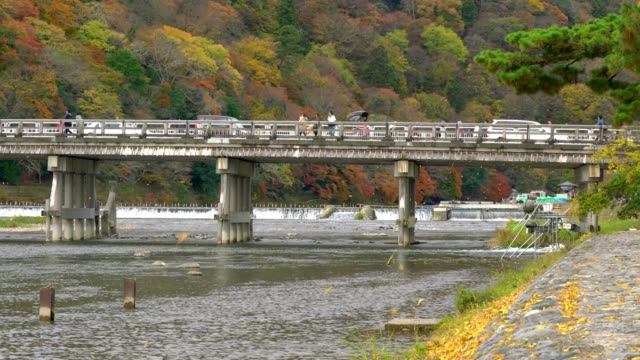 vídeos de stock e filmes b-roll de traveller visit togetsukyo bridge (moon crossing bridge) in autumn season, arashiyama, kyoto japan - cidade de quioto