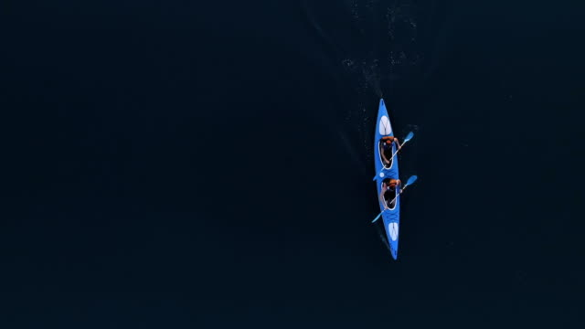 Travelling in kayak. View from above video