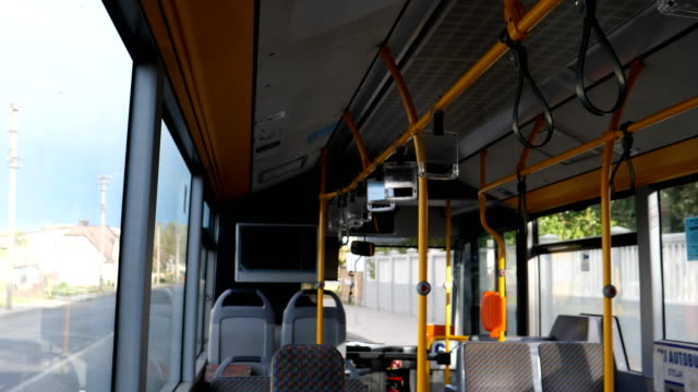 Bидео Travelling in the town bus in Panevezys Lithuania