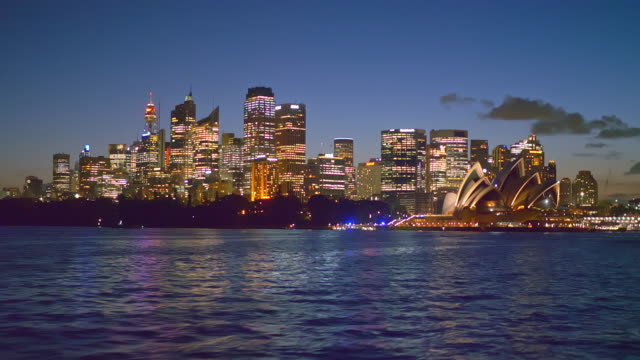 Travelling on ferry in Sydney at dusk