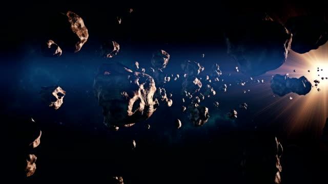 떠나볼까 통해 소행성 혁대 - 유성 스톡 비디오 및 b-롤 화면