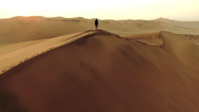traversing the dunes at dawn - paesaggio collinare video stock e b–roll