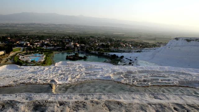 Travertine pools in Pamukkale Travertine pools in Pamukkale. aegean turkey stock videos & royalty-free footage