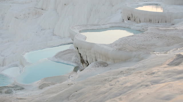 Travertine terraces in the Pamukkale Travertine terraces in the Pamukkale. Denizli, Turkey aegean turkey stock videos & royalty-free footage
