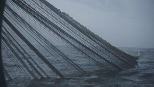 schleppnetz der industriellen fischereinetze - fang stock-videos und b-roll-filmmaterial