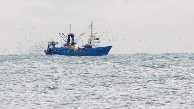 trawler fishing in the haze - fiskebåt bildbanksvideor och videomaterial från bakom kulisserna