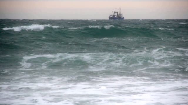 trawler  in a storm video