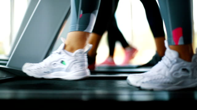 Treadmill workout. Closeup low angle side view of group of unrecognizable people doing cardio workout on treadmills. health club stock videos & royalty-free footage