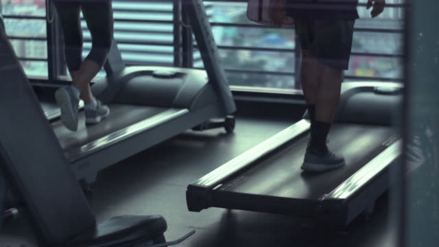 Treadmill workout,Slow motion