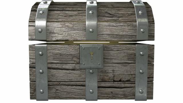 scatola del tesoro apertura con luce - scatola del tesoro video stock e b–roll