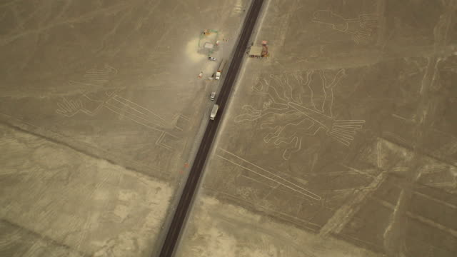 Tree, Lizard and Hands Geoglyphs in Nazca Desert, Peru video