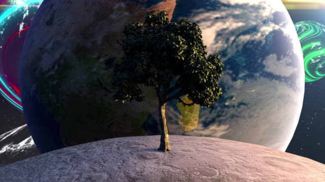 Tree on the moon in front of the Earth planet against the backdrop of celestial bodies and stars. Computer generated futuristic composition. 3D rendering elements of this image furnished by NASA