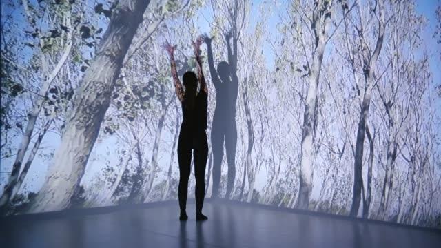投射在女舞蹈家身上的樹木 - 投射 個影片檔及 b 捲影像