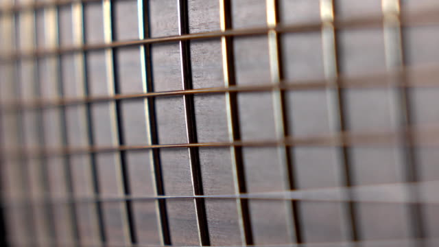 Trembling guitar strings against fret. Music performance. FullHD macro video video