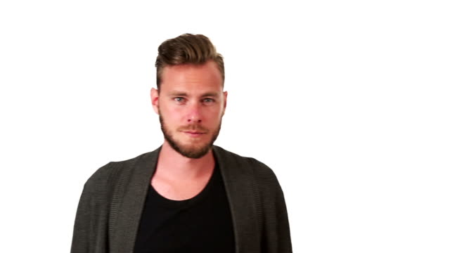 Trendy man in front of white background video