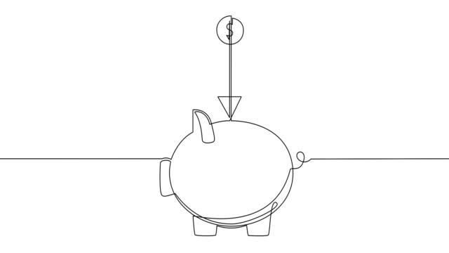 vidéos et rushes de tendance d'une ligne dessinant l'art. contour continu noir d'icône de porc d'or sur le fond blanc. minimalisme, auto-animation. - tirelire
