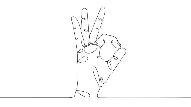 vidéos et rushes de tendance d'une ligne dessinant l'art. contour continu noir d'icône de geste ok sur le fond blanc. minimalisme, auto-animation. - contour