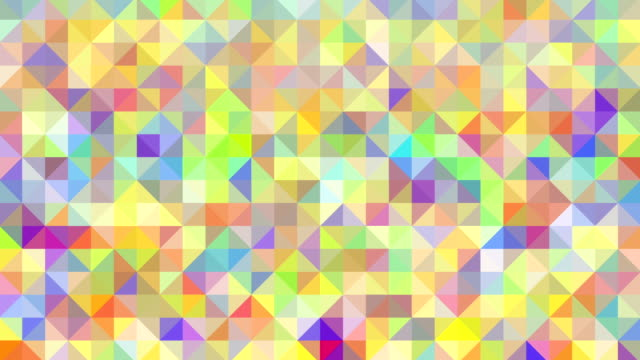 Triangles mosaic loop. Modern abstract multi-colored pixellated background. Abstract triangle background loop. Grunge texture. HD, NTSC-D1 and Web sizes. Web sizes have choice of 16x9 or 4x3 aspect ratio (by switching between HD and NTSC standards). More abstract backgrounds in my Abstract Backgrounds lightbox: funky stock videos & royalty-free footage