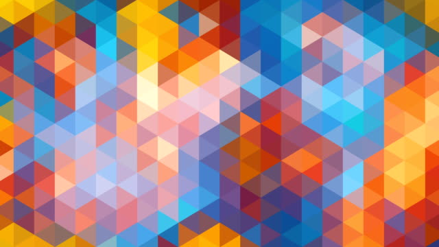 triangles mosaic loop. modern abstract multi-colored pixellated background. - pattern stok videoları ve detay görüntü çekimi