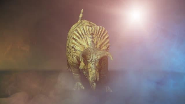 Triceratops dinosaur on dark background 3D render