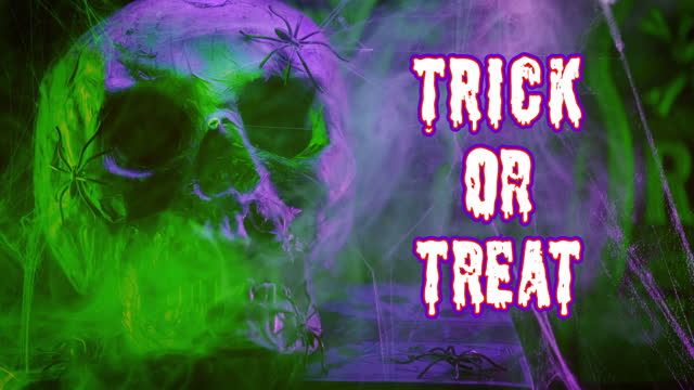 Trick or treat text and decoration with a skull head