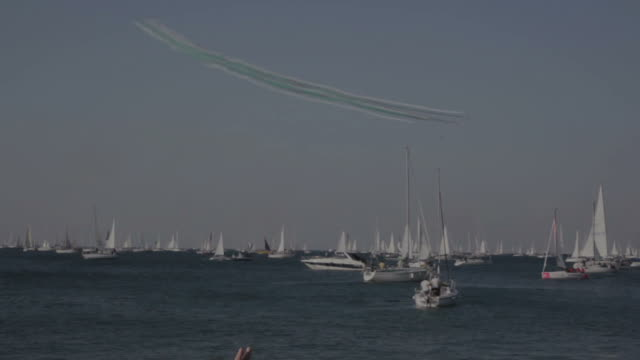 Tricolour Arrows during the 50 Barcolana, Trieste TRIESTE, ITALY - 12 OCTOBER 2018: Italian Tricolour Arrows during the 50 Barcolana on 12 October, 2018 regatta stock videos & royalty-free footage
