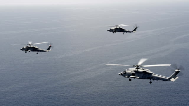 Trinity military helicopters in close formation flight video