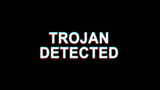 trojan wykryte glitch effect tekst digital tv distortion 4k loop animation - spyware filmów i materiałów b-roll