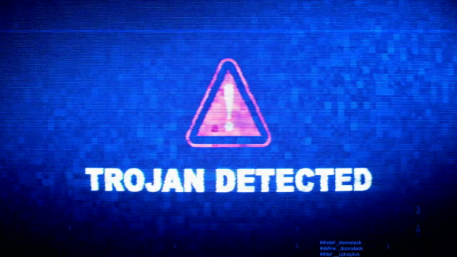 Trojan Detected Text Digital Noise Twitch Glitch Distortion Effect Error Loop Animation.