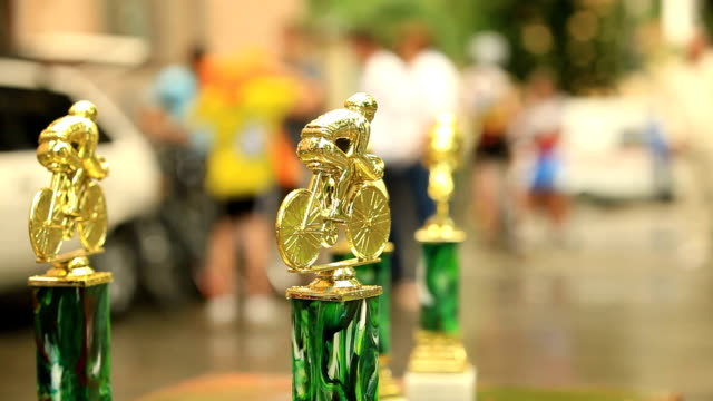 Trophies for bicycle racers video