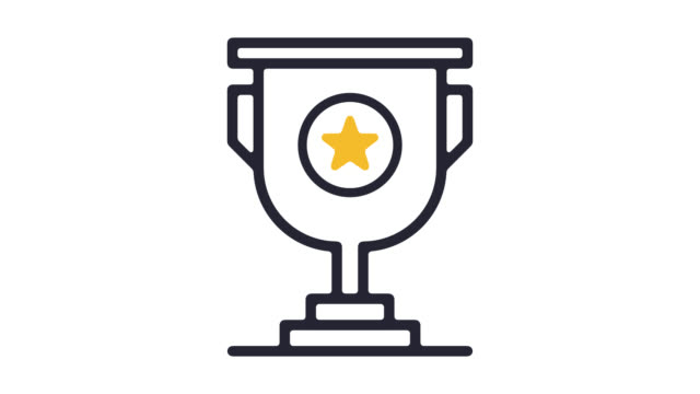 trophy awards line icon animation with alpha - badge video stock e b–roll