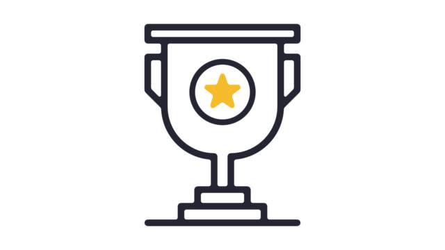 vídeos de stock, filmes e b-roll de troféu prêmio linha ícone animação com alfa - prêmio