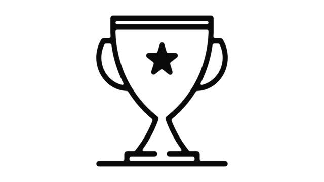 vídeos de stock e filmes b-roll de trophy line motion graphic - campeão desportivo