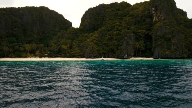 Tropical beach, aerial view. Tropical island video