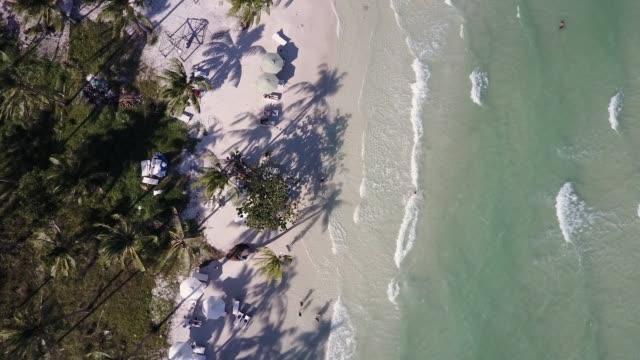 tropischer strand und meer-overhead - sun chair stock-videos und b-roll-filmmaterial